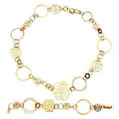 Chanel Camellia Yellow Gold Necklace Bracelet Suite
