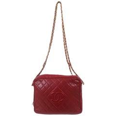 Chanel Camera bag red leather gold tone chain shoulder bag