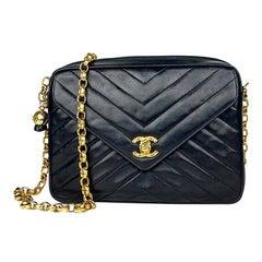 Chanel Camera Black Leather Crossbody Bag