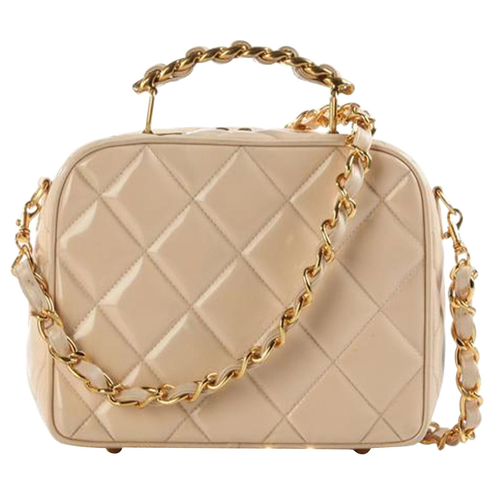 Chanel Camera Mini Quilted Vintage Rare Beige Nude Patent Cross Body Bag