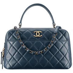 Chanel Camera Quilted Small Trendy Cc Bowling 2way 2ce0109 Blue Leather Satchel