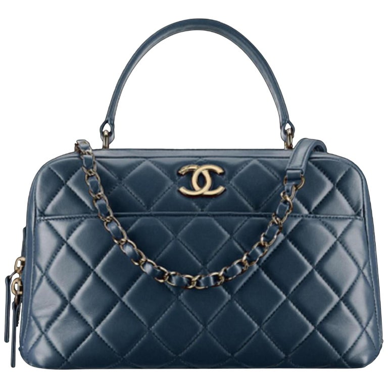 4f65623b760bd2 Chanel Camera Quilted Small Trendy Cc Bowling 2way 2ce0109 Blue Leather  Satchel For Sale