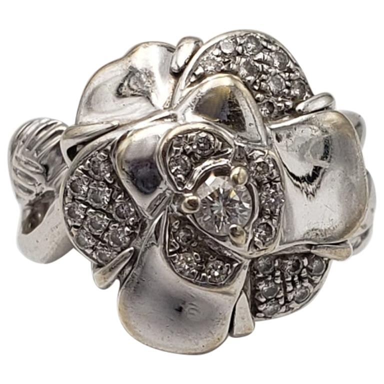 Chanel 'Camillia' White Gold and Diamond Ring For Sale