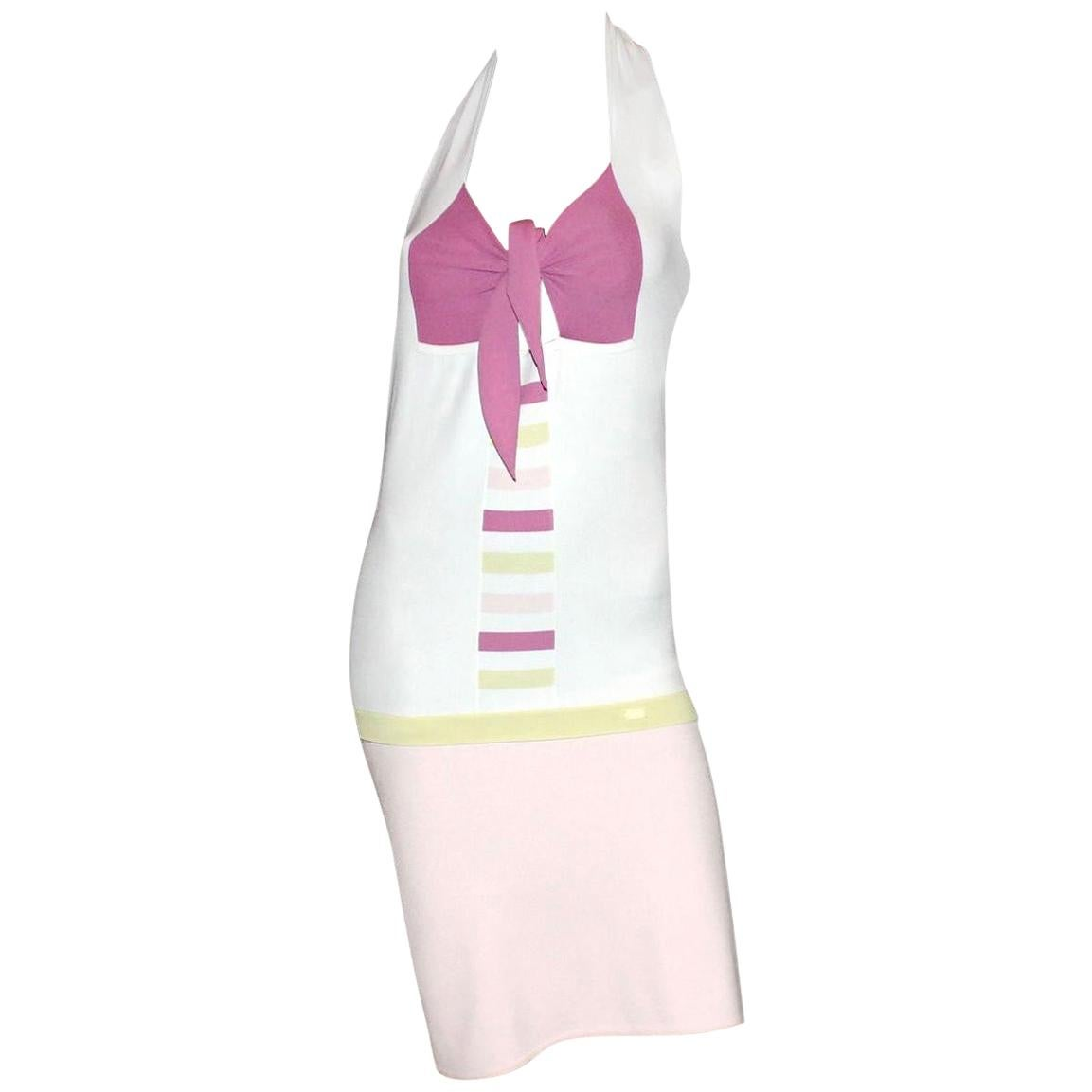 UNWORN Chanel Candyland Neckholder Bow Detail 2PCS Top Skirt Ensemble Like Dress