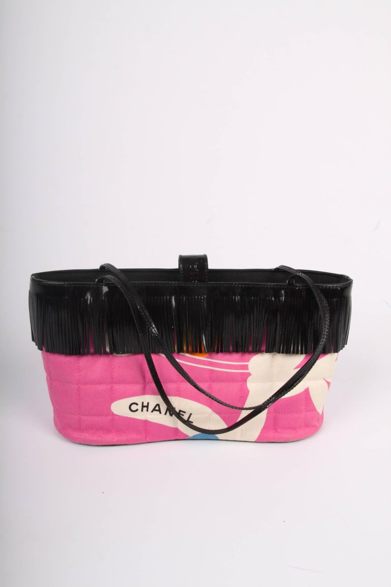 Chanel Pink and Black Canvas and Patent Leather Mini Bag   For Sale 1