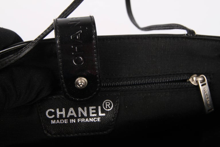 Chanel Pink and Black Canvas and Patent Leather Mini Bag   For Sale 5