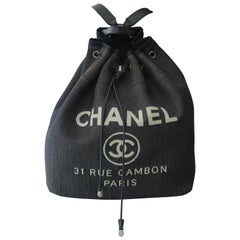 CHANEL Canvas Large Deauville Backpack Denim Blue