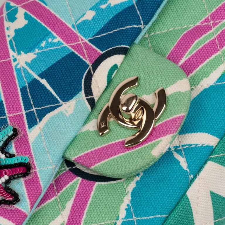 Blue Chanel Canvas Shoulder Bag For Sale