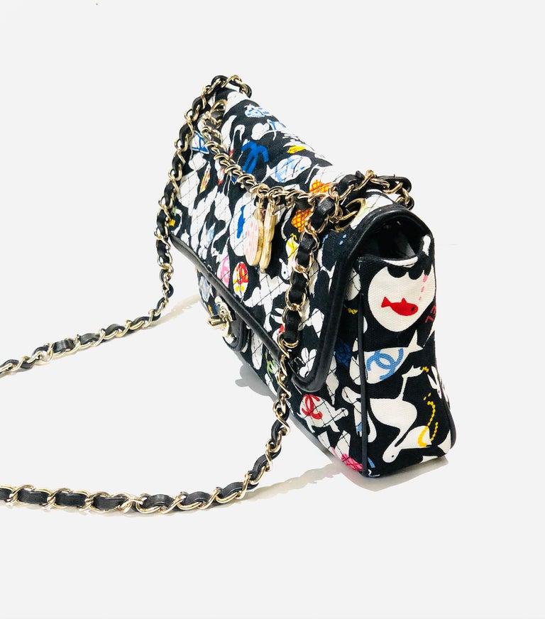 Black Chanel Printed Canvas Shoulder Bag