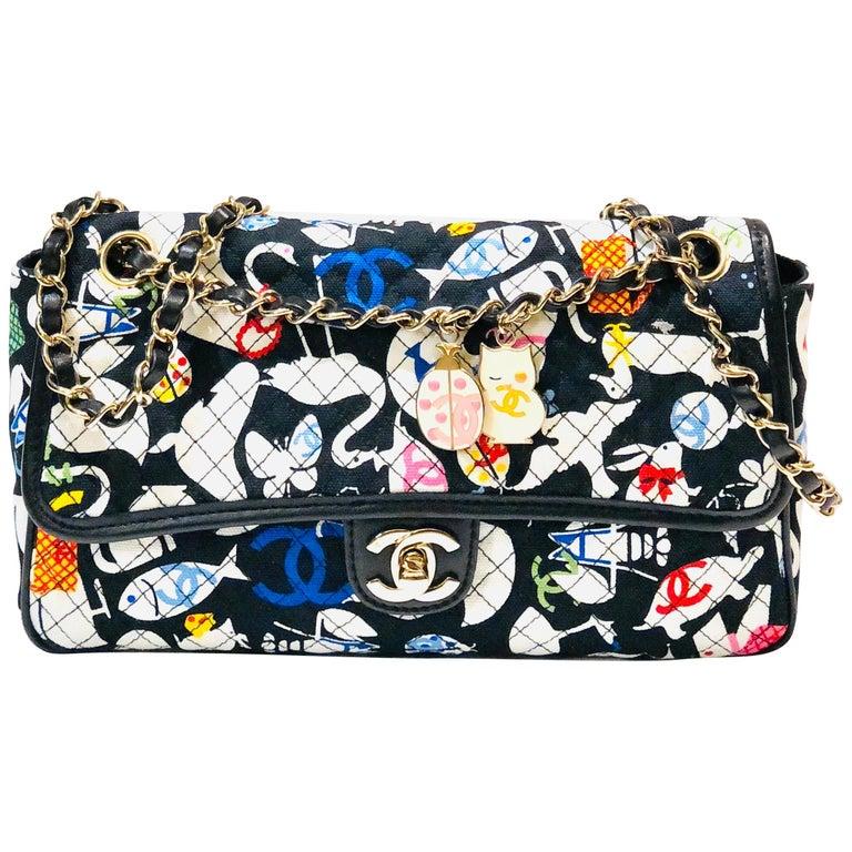 Chanel Printed Canvas Shoulder Bag