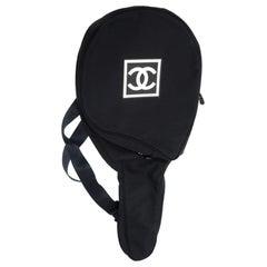 Chanel Canvas Tennis Racquet Cover Black Nylon Bag