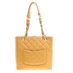 Chanel Caramel Quilted Caviar Leather Petite Shopping Tote