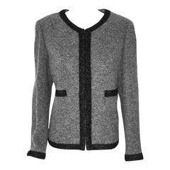 Chanel Cashmere & Alpaca Grey W/  Black Silk Ribbon Trim 2010 Fall Jacket