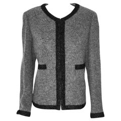 Chanel Cashmere & Alpaca Grey W/  Black Silk Ribbon Trim 2010 Fall Jacket