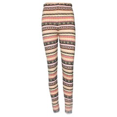 Chanel Cashmere Fair Isle Intarsia Knit CC Logo Leggings Pants