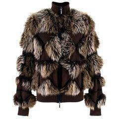 Chanel Cashmere Faux Fur Bomber Jacket FR 40