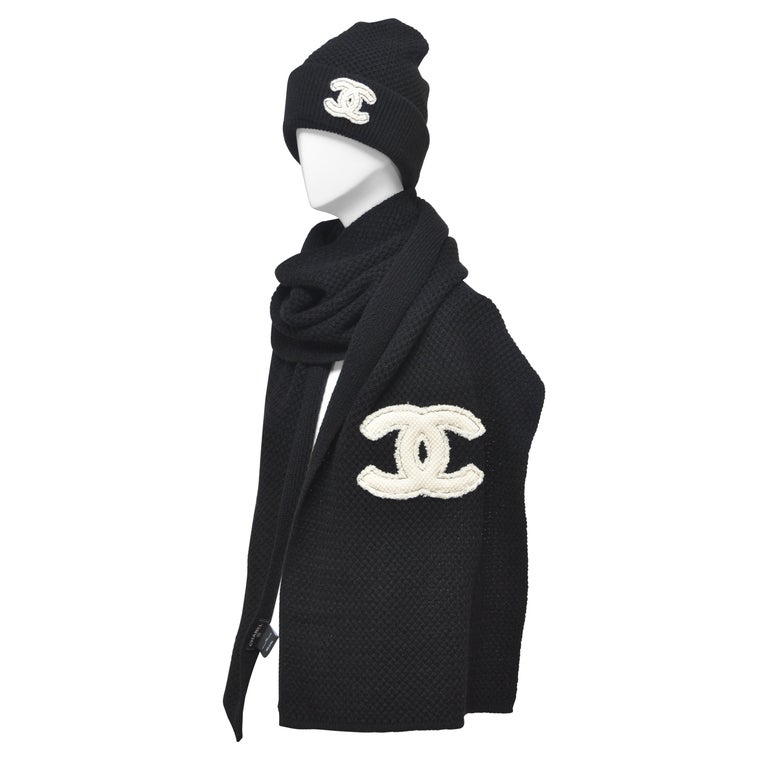 CHANEL Cashmere Hat & Scarf Shawl   New With Tags For Sale