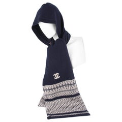 Chanel Cashmere Hooded Logo Scarf