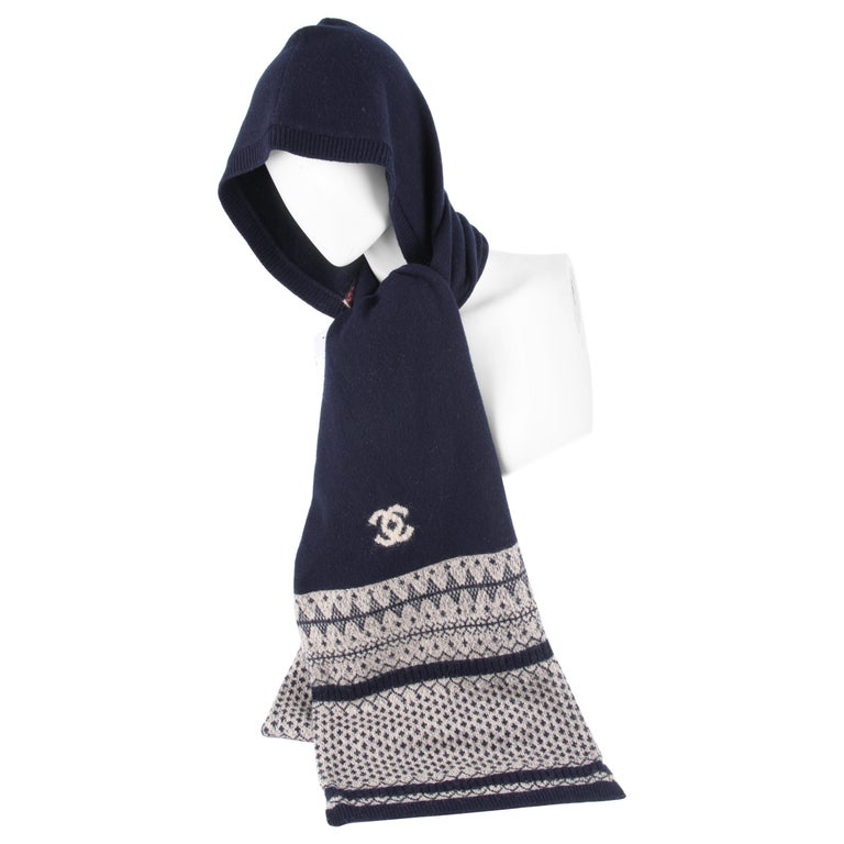 Chanel Cashmere Hooded Logo Scarf For Sale