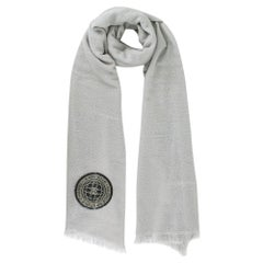 Chanel Cashmere & Silk Grey Lurex Knit Gabrielle Scarf