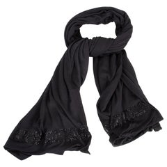 Chanel Cashmere Silk Scarf Black