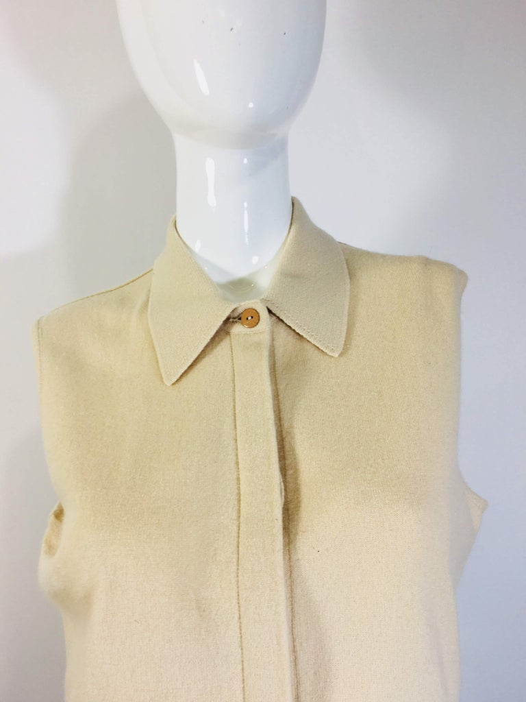 Chanel Button Up Beige Cashmere Sweater with Collar Chanel Logo Buttons Made in Italy Size 44