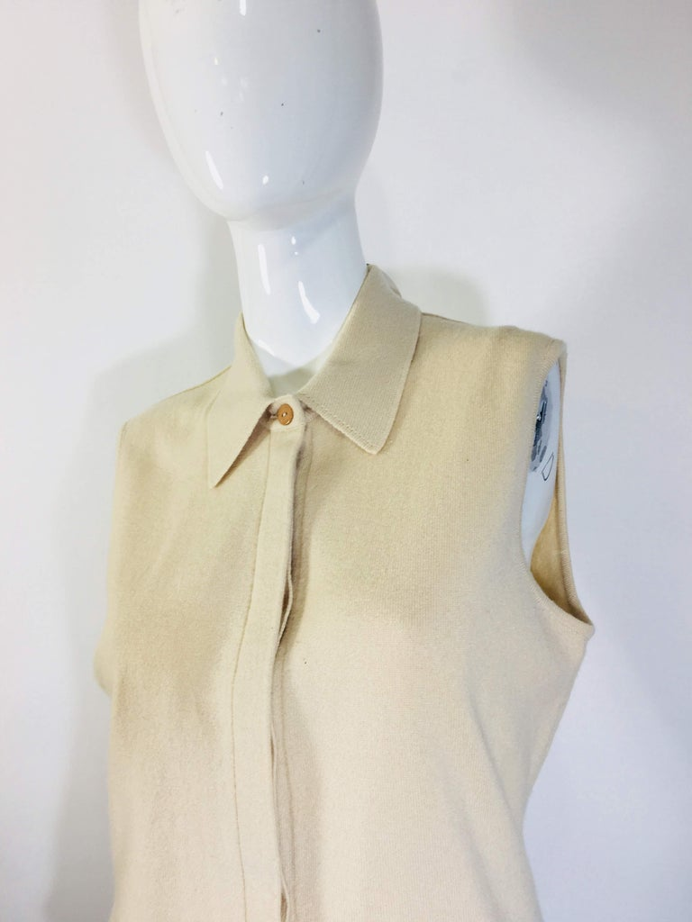 Beige Chanel Cashmere Tank Top For Sale