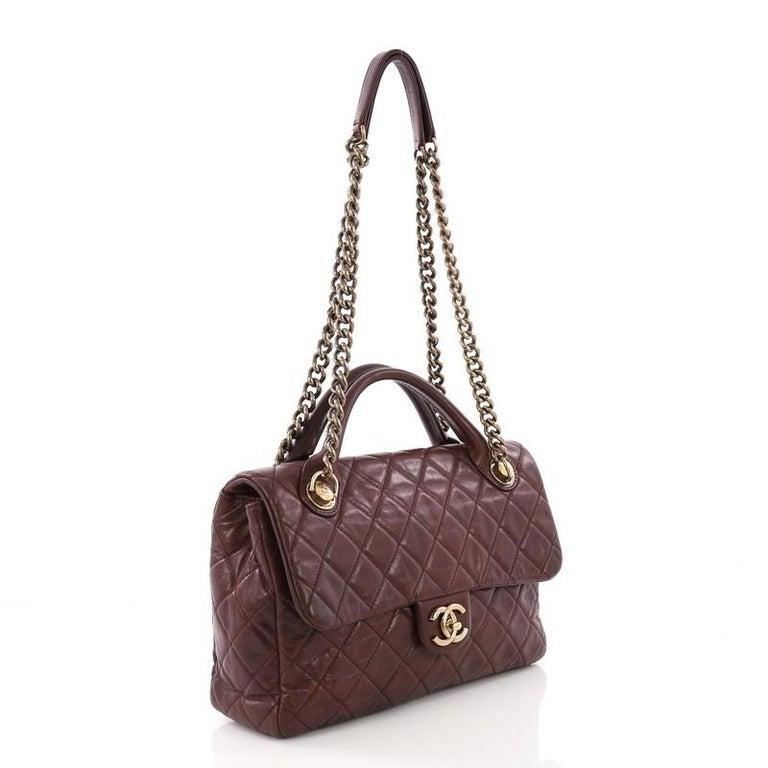 8387becefb0b Black Chanel Castle Rock Flap Bag Quilted Glazed Calfskin Medium For Sale