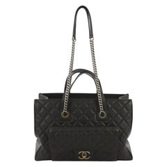 Chanel Casual Pocket Shopping Tote Quilted Goatskin Large
