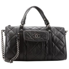 Chanel Casual Riviera Bowling Bag Quilted Calfskin Medium
