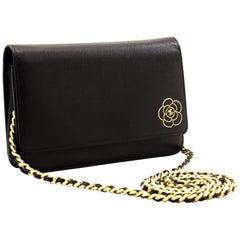 CHANEL Caviar Black Camellia WOC Wallet On Chain Shoulder Bag