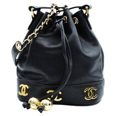 Chanel Caviar CC Drawstring Shoulder Bag Black