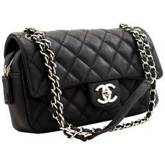 CHANEL Caviar Chain Shoulder Bag Black Flap Quilted Leather Silver