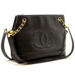 CHANEL Caviar Chain Shoulder Bag Black Large Leather CC Zipper