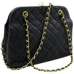 CHANEL Caviar Chain Shoulder Bag Black Quilted Leather Gold Hw