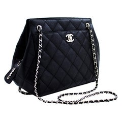 CHANEL Caviar Chain Shoulder Bag Black Quilted Leather Silver Zip