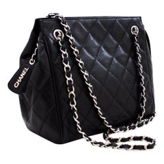 CHANEL Caviar Chain Shoulder Bag Black Quilted Leather Zipper