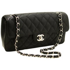 CHANEL Caviar Chain Shoulder Bag Black Quilted Single Flap Leather