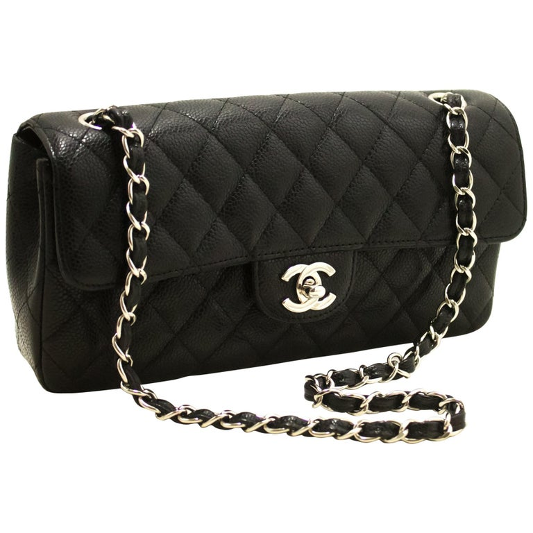 e7174fc9dd5e49 CHANEL Caviar Chain Shoulder Bag Black Quilted Single Flap Leather For Sale