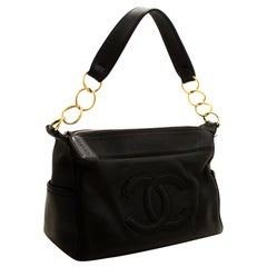CHANEL Caviar Chain Shoulder Bag Leather Black Zip Goldper