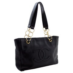 CHANEL Caviar Chain Shoulder Bag Tote Leather Black Gold Hw Purse