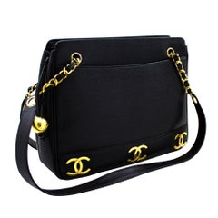 CHANEL Caviar Chain Shoulder Bag Triple Coco Leather Black