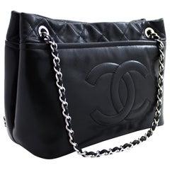 CHANEL Caviar Chain Shoulder Crossbody Bag Leather Black Silver