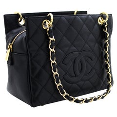 CHANEL Caviar Chain Shoulder Shopping Tote Bag Black Quilted Gold Leather