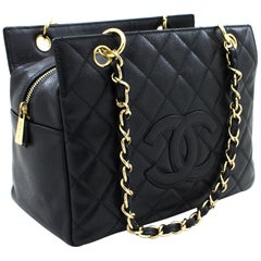 CHANEL Caviar Chain Shoulder Shopping Tote Bag Black Quilted Leather