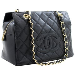 CHANEL Caviar Chain Shoulder Shopping Tote Bag Black Quilted Purse
