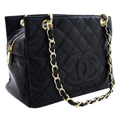 CHANEL Caviar Chain Shoulder Shopping Tote Bag Black Quilted Purse Leather