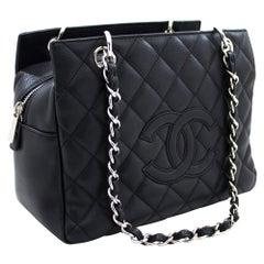 CHANEL Caviar Chain Shoulder Shopping Tote Bag Black Silver Leather