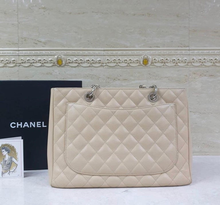 Chanel Caviar Cream Leather Grand Shopping Tote Bag  1