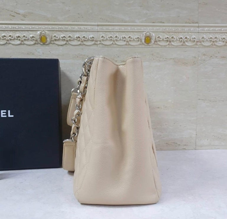 Chanel Caviar Cream Leather Grand Shopping Tote Bag  2